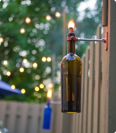 wine bottle lantern,  DIY citronella candle