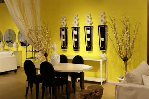 yellow and black dining room