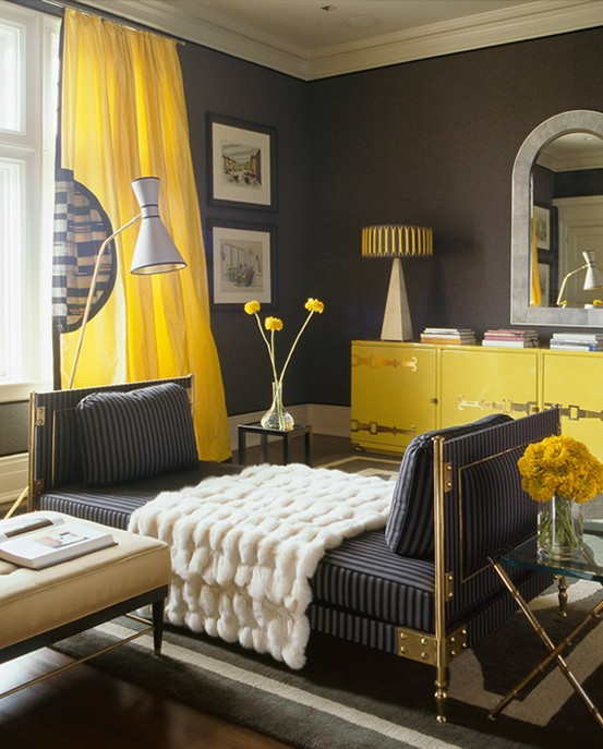 yellow and gray interior, yellow and gray decorating