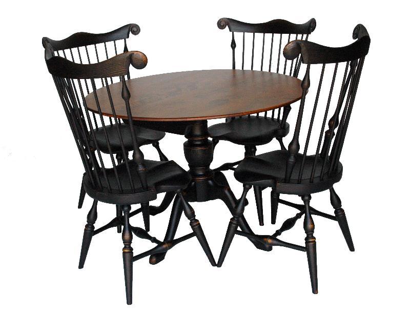 ... Fan Back Side Chairs. Pedestal Table