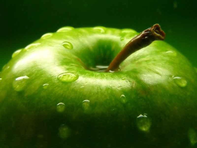 apple with water drop