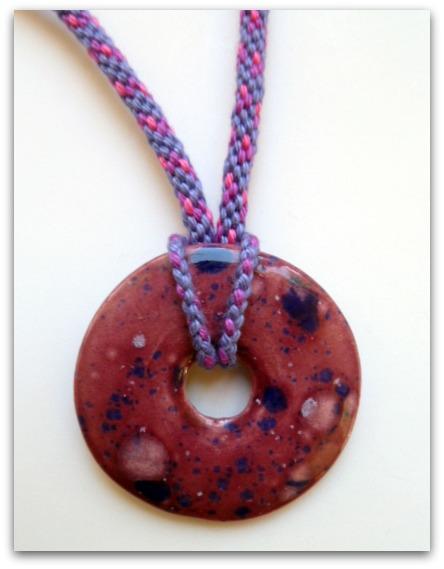 Glazed Plum Donut Necklace