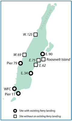 Manhattan proposed ferry landings