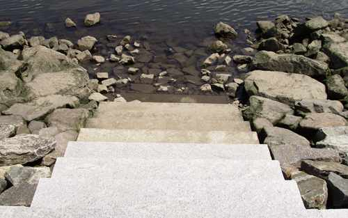 steps down into the water