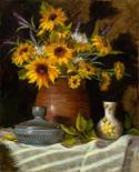 Sunflowers and Stoneware