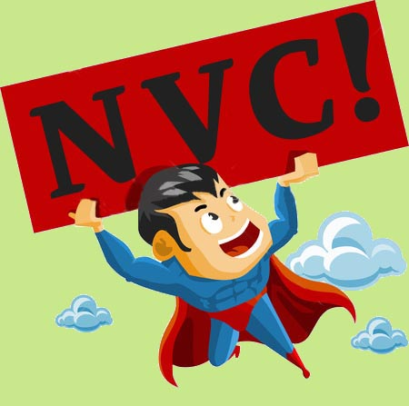 superhero carrying NVC sign