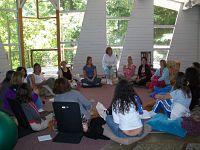 Women in circle at retreat center