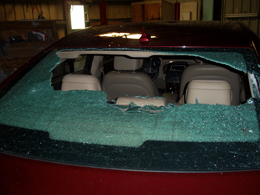 Hail-damaged vehicle