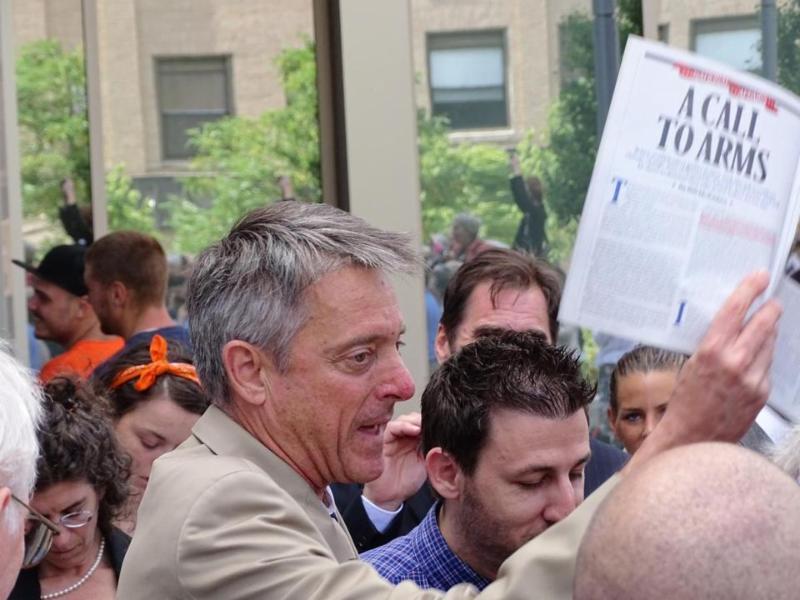 D.A. Sutter holds up Bill Mckibben article