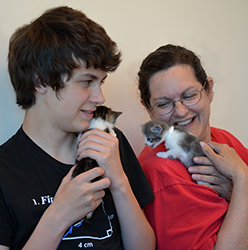 Ben and Heidi with foster kittens