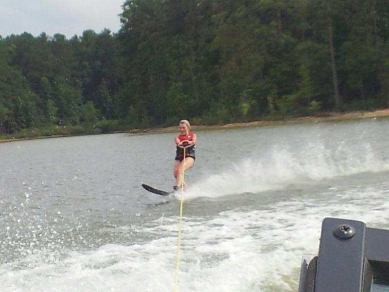 Faith Slalom Skiing on Jordan Lake, North Carolina, USA