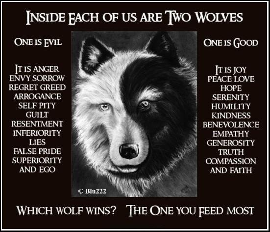 Two Wolves In Each of Us Dark and Light