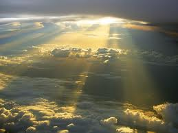 heavenly beams of light from the sky