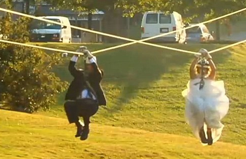 bride and groom ziplining