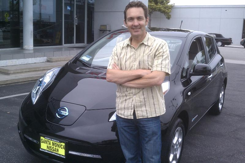 Cheeseman with his Nissan Leaf