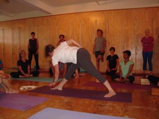 Leslie demonstrating Parivrtta Trikon.
