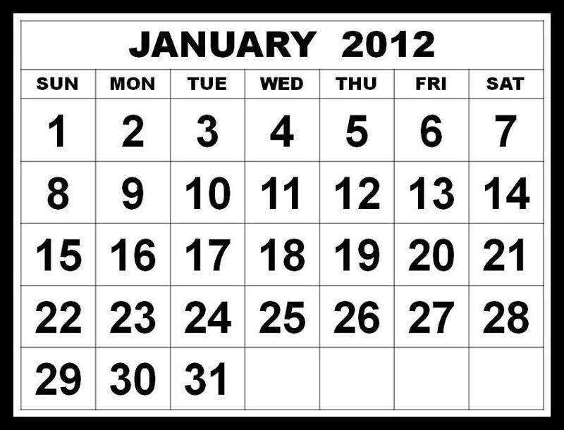 January 2012 Calendar Page