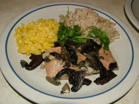 Braised Salmon with Leeks