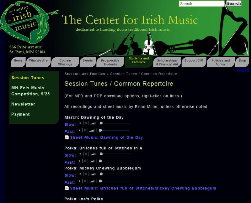 Session tunes on website