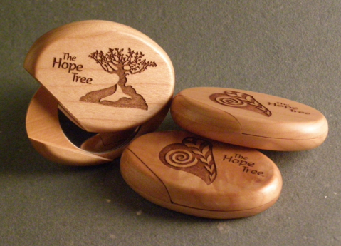 Carved Wooden Hope Tree Pocket Mirror