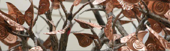 Copper Leaves on Teh Hope Tree Sculpture