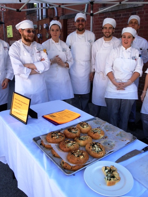 NECI Chef Buswell and students with their farmers market tarts (recipe)