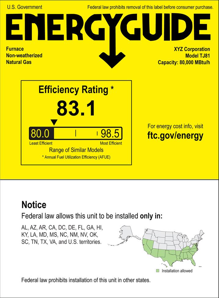 EnergyGuide Regional Label
