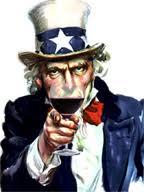 Uncle Sam Drinking Wine