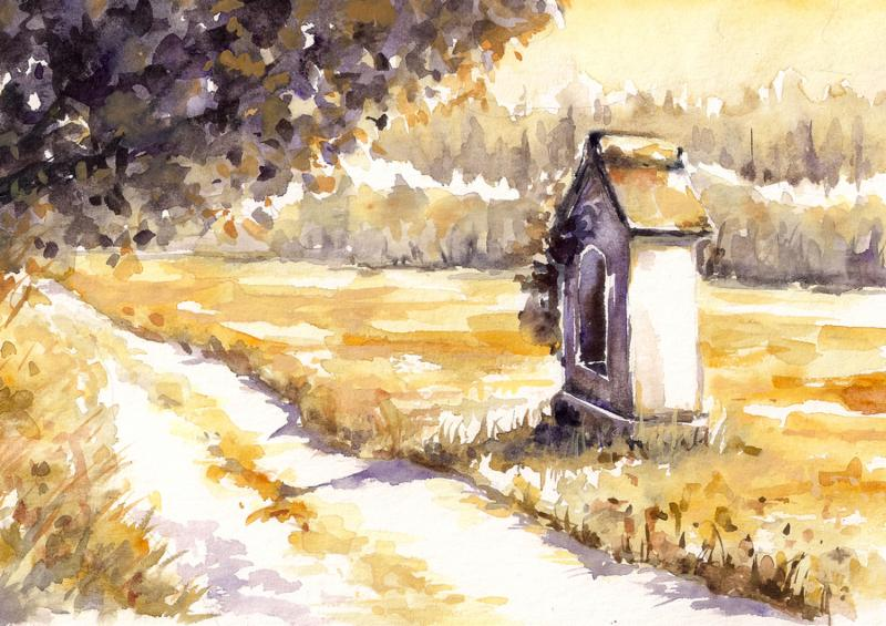 Autumn landscape with small chapel close to the road. Watercolors