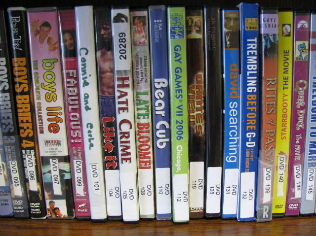DVDs on library shelf