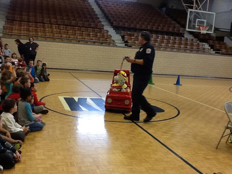 sparky the fire dog robot. fireman barry and his sidekick sparky the fire dog demonstrated safe ways of leaving a burning building reinforced importance family evacuation robot
