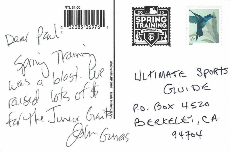 Spring training postcard  - 2015 John Gumas