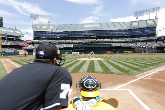Umpire view - A's - 2015 - Michael Zagaris