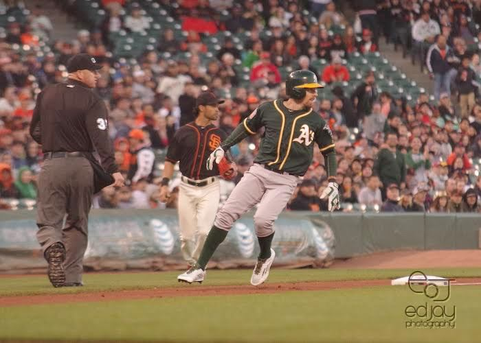 Billy Burns - A's v. Giants - 3-31-16 - Ed Jay