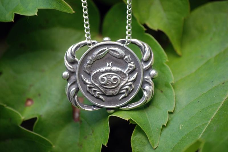 sirius starchild sterling silver zodiac medallion cancer necklace