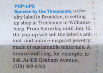 species  treehouse pop-up in NYT