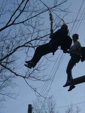 Zip line at Trout Lodge