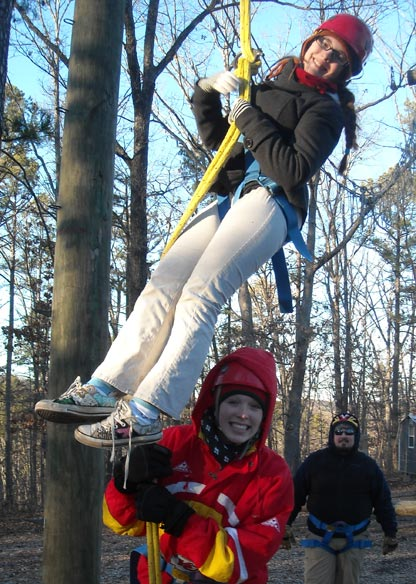 The ropes course at YM retreat at Trout Lodge.