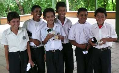 Nicaragua boys with gifts from CSMSG.