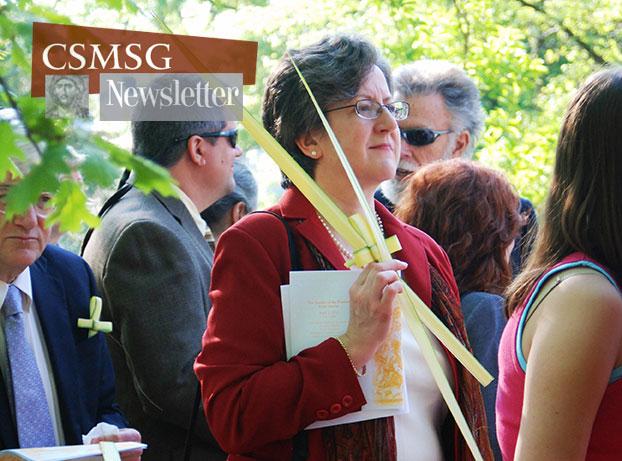 Parishioner Allison Lehman in last year's Palm Sunday procession.
