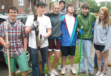 Youth group at recent service project