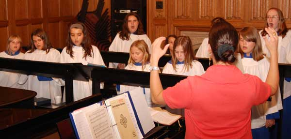 Girls choir practicing