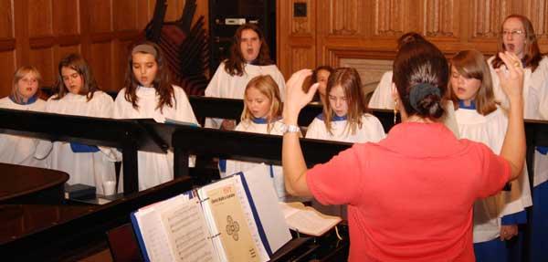 Girls choir practicing