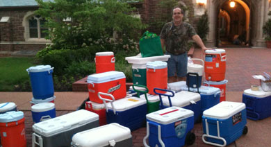 Todd Burton with coolers for YM Trip
