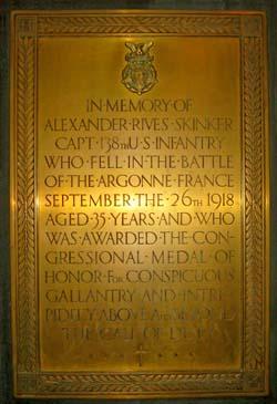 A memorial Plaque for Capt. Alexander  Rives Skinker