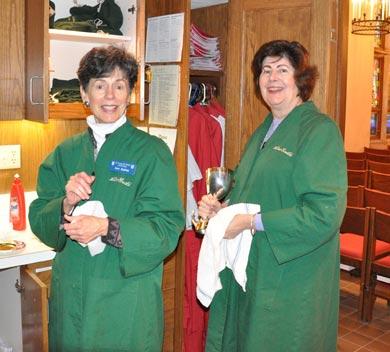 Altar guild women preparing for Sunday