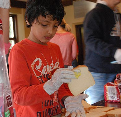 sandwich making in Taylor Room