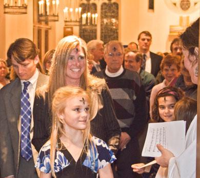 Parishioners depart St. George's Chapel on Ash Wednesday.
