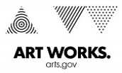 National Endowment for the Arts logo in black and white three triangles with different patterns