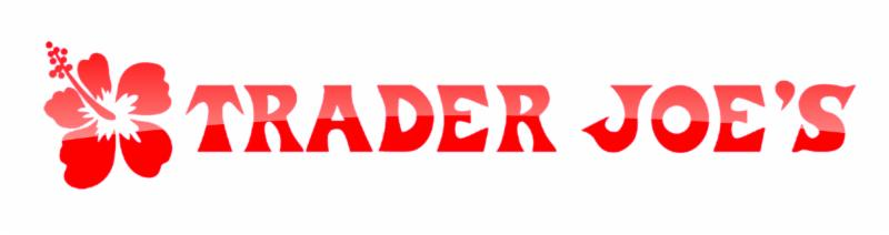 Trader Joes logo in red with ared  tropical flower on the left